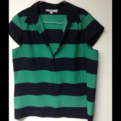 Striped navy and green blouse Super cute thin and light weight blouse. LOFT Tops Blouses