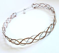 Celtic Braid Circlet - Two Tone Silver and Bronze Aluminum Wire Headpiece - Medieval Renaissance Elven Crown