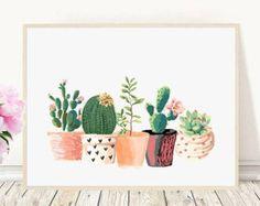Cactus Art Printable Art Cactus Print Home от PaperStormPrints