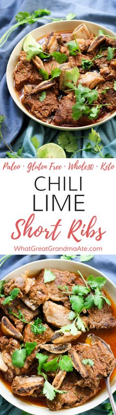 These #Paleo and #Whole30 Chili Lime Short Ribs are crazy easy to make in the Instant Pot, and you'll have the most delicious, fall-off-the-bone dish at the end of it. They are also #lowcarb and #keto! via @whatggmaate