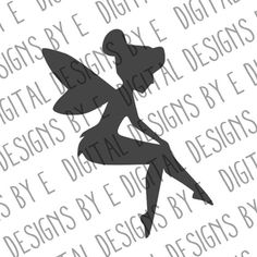 Sitting Tinkerbell Fairy Silhouette Digital by DigitalDesignsByE