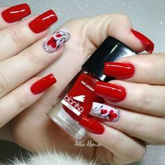 69 fotos de unhas decoradas com esmalte vermelho дизайн ногтей red nails, n Ring Finger Nails, Red Nail Art, Super Nails, Nail Decorations, Almond Nails, Holiday Nails, Blue Nails, Simple Nails, Halloween Nails