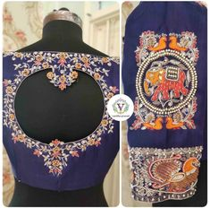 latest maggam work blouse designs for pattu sarees 2 scaled e1584377198818 Royal Blue Blouse, Grey Blouse, Purple Blouse, Wedding Saree Blouse Designs, Saree Wedding, Cotton Saree, Silk Sarees, Latest Maggam Work Blouses, Aari Work Blouse