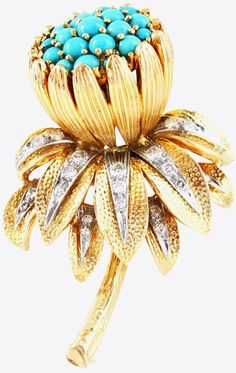 Kutchinsky Turquoise Diamond Flower Brooch. Pretty turquoise and diamond broach by Kutchinsky, London. The bud is set beautifully with turquoises and the leaves with diamonds and is mounted in yellow and white gold. Signed.