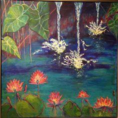 """Water Lily Splash"" 48x48 on way to La Jolla Art and Frame Gallery! • • • • • • • #oilpainting  #lajolla  #impressionism  #art  #artforsale  #interiordesign  #artistsofinstagram  #artist  #sandiego #lajollalocals #sandiegoconnection #sdlocals - posted by Kayskaplan@gmail.com  https://www.instagram.com/kayskaplan. See more post on La Jolla at http://LaJollaLocals.com"