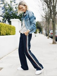 Alex Stedman ofThe Frugalityhas us reaching for a pair of side-striped pants to wear with a slouchy sweater, denim jacket and fresh sneaks. Casual but still so fashionable.