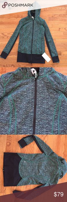NWT lululemon atheltica jacket!!!! Such an awesome print with turquoise and black. Comfortable & slimming! Thumb holes in the sleeves which makes it perfect to work out in! lululemon athletica Tops Sweatshirts & Hoodies