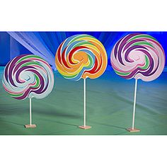 Shindigz $80. The one-sided Sweet Lollipop Set features three brightly colored old fashioned lollipops. Our free-standing lollipop prop set measures 5 to 6 feet high x 2 feet 4 inches.,Sweet Lollipop Set, Lollipop Prop Set