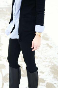 black leggings, shirt, cardi