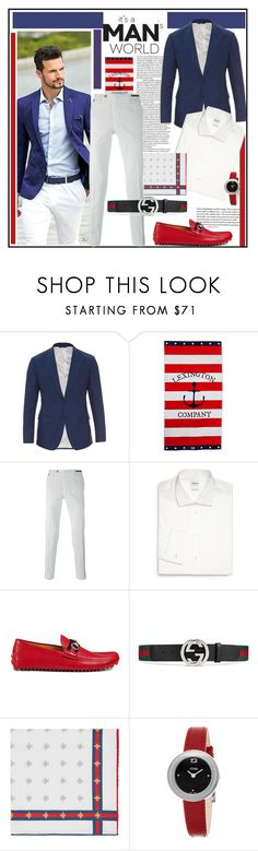 """4th of July! Red,White and Blue"" by littlefeather1 ❤ liked on Polyvore featuring Dolce&Gabbana, Lexington, PT01 Pantaloni Torino, Armani Collezioni, Gucci, Fendi, GetTheLook, menswear and polyvoreeditorial"