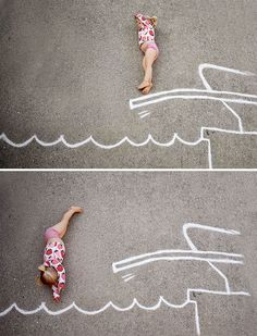 A family in Atlanta use bright chalk crayons to create wondrous settings for the family's children to play in. Chalk Photography, Creative Photography, Chalk Drawings, Easy Drawings, Chalk Photos, Art For Kids, Crafts For Kids, Chalk Lettering, Graffiti Lettering