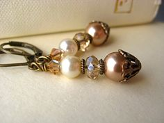 Champagne Ivory Pearl Bridal Earrings - antique brass, vintage inspired, filigree $30 etsy