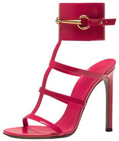 Gucci Patent Ankle-Wrap Cage T-Strap Sandal in Pink  The Pink Frock | Private Client Styling and Personal Shopping Firm | Valentine Gifts