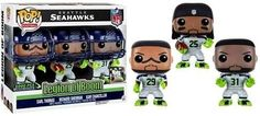 This NFL Funko POP set includes three Seattle Seahawks Legion of Boom greats: Earl Thomas, Richard Sherman and Kam Chancellor. Each POP vinyl figure stands approximately 3 tall and comes with a removable helmet! Nfl Seahawks, Seattle Seahawks, Funko Pop Figures, Pop Vinyl Figures, Kam Chancellor, Earl Thomas, Sports Games For Kids, Richard Sherman, Nfl Seattle