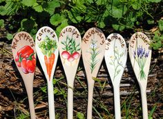 Spring Garden Marker Wood Spoons Custom by CatherineLaPointe