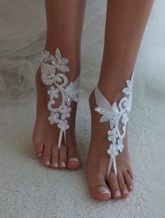 Ivory or white Beach wedding barefoot sandals wedding shoes prom lace barefoot s. Ivory or white Beach wedding barefoot sandals wedding shoes prom lace barefoot sandals bangle beach anklets bride brides. Barefoot Sandals Wedding, Wedge Wedding Shoes, Wedding Boots, Bridal Shoes, Lace Wedding, Bridal Lace, Barefoot Beach, Casual Wedding, Bridal Sandals