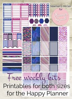 Get your FREE weekly kits printables for both sizes of Happy Planner! In gorgeous purples, blues, and pinks, these printables are sure to delight!