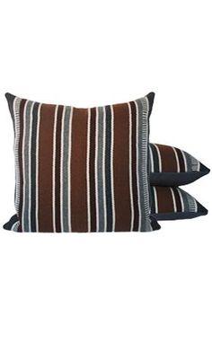 charcoal + chocolate alpaca frazada pillow. charcoal linen-backed.