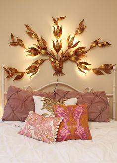 gold decor, bedroom