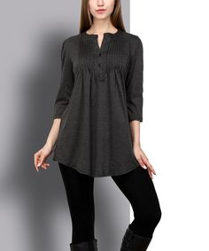 Loving this Charcoal Pin Tuck Notch Neck Tunic on #zulily! #zulilyfinds