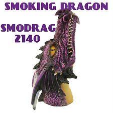 Incense Burner Poly Resin Purple Smoking Dragon  Burner w/Wild-berry smp smodrag