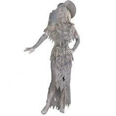Ghostly Gal Costume.  $49.99            Let Her Spirit Move You! This costume includes a grey tattered gown, capelet gloveletes, hat and belt.One size fits most.