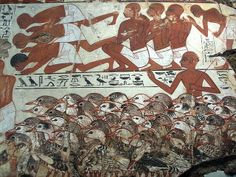 Ancient Egyptian Tomb Art detail, Nebamun viewing his geese and cattle, showing the geese and servants, painting from the tomb-chapel of Nebamun, accountant in the Temple of Amun (Karnak), circa 1350 BC, Ancient Egypt, panel in the British Museum, London WC1.