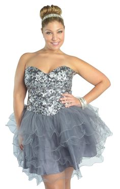 plus size two tone designed hemline #sequin #homecoming dress  $89.99