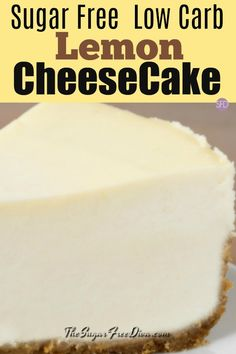 Low Carb Sugar Free Lemon Cheesecake - option for lowcarb and keto recipes for a cheesecake recipe that is based on a New York Style cheesecake. Sugar Free Cheesecake, Low Carb Cheesecake Recipe, Cheesecake Cake, Vegan Cheesecake, Sugar Free Deserts, Sugar Free Recipes, Low Carb Cupcakes, Low Carb Desserts, Weightwatchers Desserts
