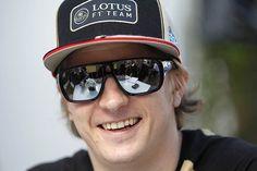 Kimi Raikkonen...smiling...a rarity!