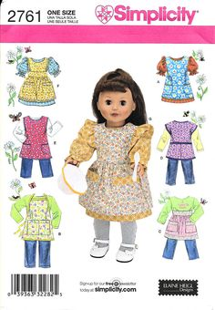 ada115440 Simplicity 18 Inch Doll Clothes Pattern Item  Sewing Pattern Brand   Simplicity Model  2761