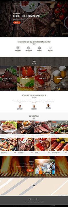 Red Hot Grill Restaurant #Wordpress #template. #themes #business #responsive #Wordpressthemes
