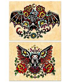Day of the Dead BAT & OWL Old School Tattoo Flash Art Set 5 x 7. $17.00, via Etsy.