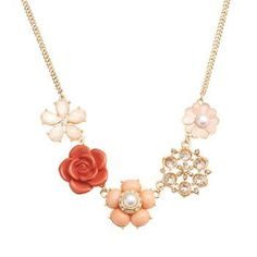 LC Lauren Conrad Gold Tone Simulated Crystal and Simulated Pearl Flower Necklace, Women's, multicolor Lc Jewelry, Fashion Jewelry Necklaces, Fashion Necklace, Custom Jewelry, Jewelry Accessories, Jewelry Ideas, Faux Pearl Necklace, Flower Necklace, Collar Necklace