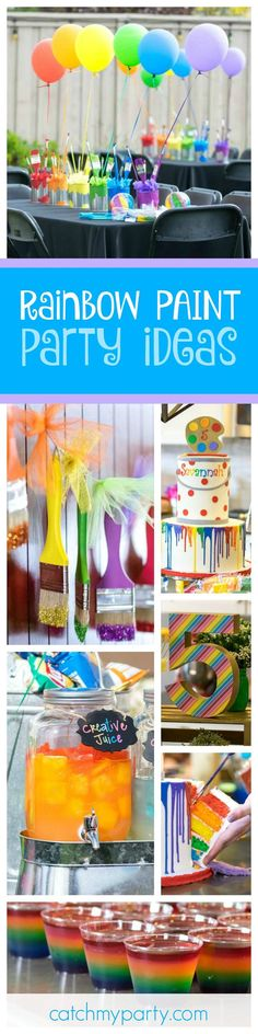 Don't miss this fantastic Rainbow Paint 5th Birthday Party. The table settings are so colorful!! See more party ideas and share yours at http://CatchMyParty.com