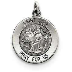 Finejewelers Sterling Silver Antiqued Saint Luke Medal Pendant Necklace Chain Included