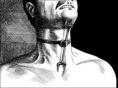 Heretics Fork: The device was placed between the breast bone and throat just under the chin and secured with a leather strap around the neck, while the victim was hung from the ceiling or otherwise suspended in a way so that they could not lie down. A person wearing it couldn't fall asleep. The moment their head dropped with fatigue, the prongs pierced their throat or chest, causing great pain. This very simple instrument created long periods of sleep deprivation. - Wikipedia