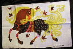 Vintage Retro Oxfam Belinda Lyon Tea Towel Horse Pure Irish Linen Never Used