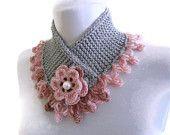 cou tricoté plus chaud, hiver, tricoté à la main, cadeau, mode, rose et greey, cadeau de Noël