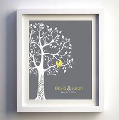 "Cute ""love bird"" art poster to put the names of the bride & groom and the date of their wedding."