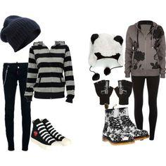 <3 i love both those shoes.... that striped shirt... that beanie.... those pants... and......................... THAT PANDA HAT. asldkhafjsdk: