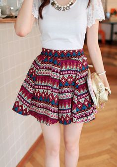 Be bold and be fierce with this Aztec print skater skirt. This skater skirt features colorful Aztec prints designed for you to stand out. Keep your outfit chic and simple by pairing this with a cute top.   Lookbook Store What's New