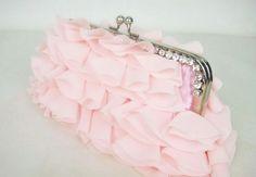 Free Ship New Pretty Pink Chiffon Petals Evening Bag Clutch Bag Purse Handbag