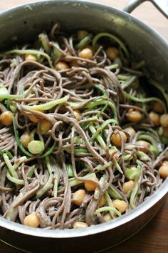 Cool and refreshing tahini miso and cucumber soba noodles with chickpeas – perfect for a light summer meal!
