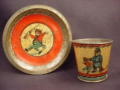 Vintage Comic Dog Cat Policeman Litho Cup Plate Saucer Childs Tin Tea Set | eBay