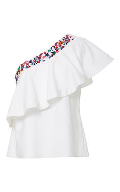 Shop Esme One Shouldered Ruffled Top. This **Saloni** top features floral embroidery and a one-shouldered ruffle. One Shoulder Ruffle Top, Off One Shoulder Tops, Frilly Shirt, Ruffle Shirt, Ruffle Sleeve, Flutter Sleeve, White Ruffle Blouse, Frill Tops, Shirt Blouses