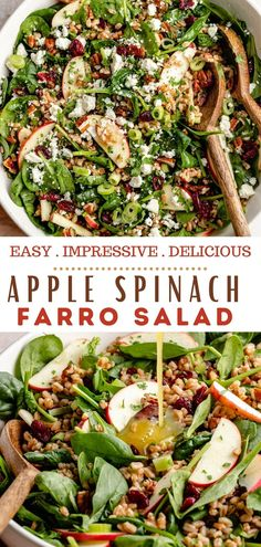 I have become absolutely obsessed with this Farro Salad! It's super hearty, healthy and delicious and I know you're going to LOVE it too! This fall-inspired Farro Salad is made with cooked farro, juicy apples, fresh spinach, crunchy pecans and sweet cranberries, all tossed in a bright lemon vinaigrette. Farro is a nutty whole grain that's absolutely perfect in salads like this one. Easy Salad Recipes, Easy Salads, Chef Recipes, Fall Recipes, Potato Recipes, Vegetable Recipes, Delicious Recipes, Cookie Recipes, Vegan Recipes