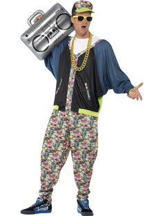 Smiffy's Men's Hip Hop Adult Costume Old School Rapper MC Hammer Vanilla Ice Costume Année 80, 80s Halloween Costumes, 80s Party Costumes, 80s Party Outfits, Hip Hop Costumes, 80s Outfit, Adult Costumes, Costume Shop, Costume Dress