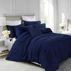 Dress your bed in stylish comfort with a Tribeca Living Valencia Solid Duvet Cover Set. Adorned with a crisp, clean design in several chic colors, the soft and smooth microfiber will feel like silk against your skin and add a luxurious look to your decor. Duvet Sets, Duvet Cover Sets, Bed Sets, Marble Duvet Cover, Cal King Bedding, Comforter, Blue Duvet, Teal Bedding, Cheap Bed Sheets