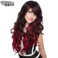 Triflect in Midnight Flame from RockStar Wigs Curled Hairstyles, Pretty Hairstyles, Kawaii Wigs, Anime Wigs, Pretty Halloween, Halloween Wigs, Alternative Hair, Cosplay Wigs, Hair Dos